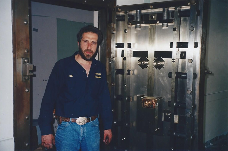 Philip Mortillaro in front of a safe he manipulated open